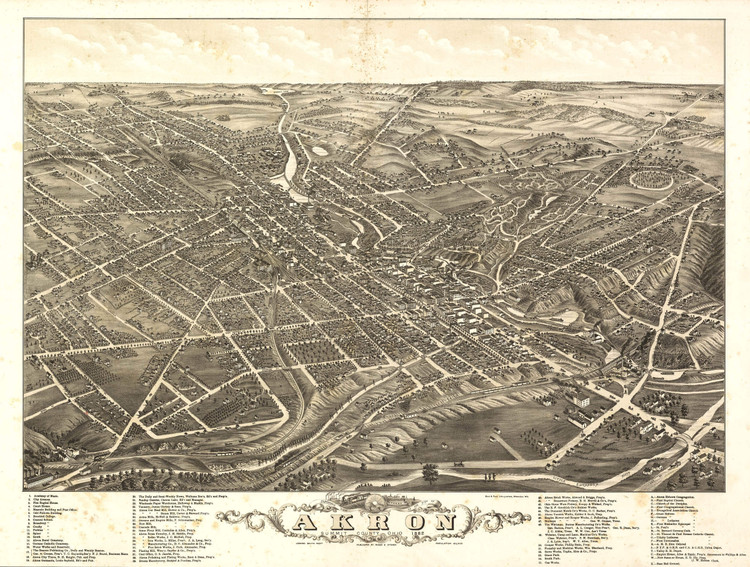Historic Map - Akron, OH - 1882