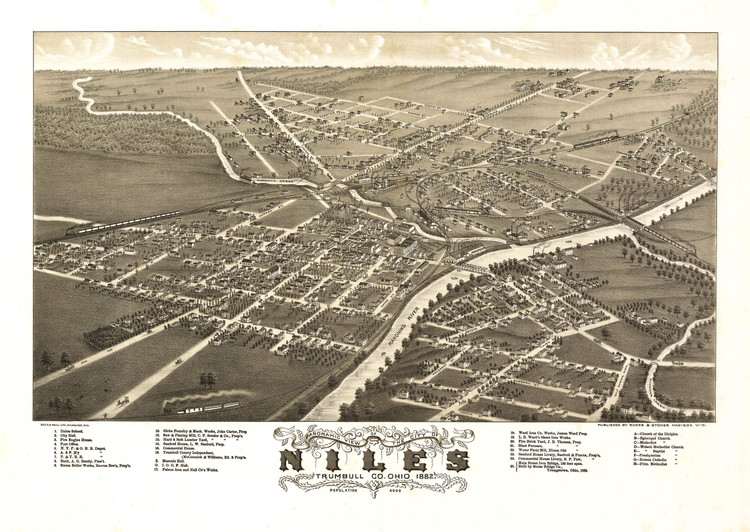 Historic Map - Niles, OH - 1882