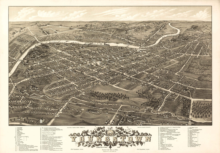 Historic Map - Youngstown, OH - 1882