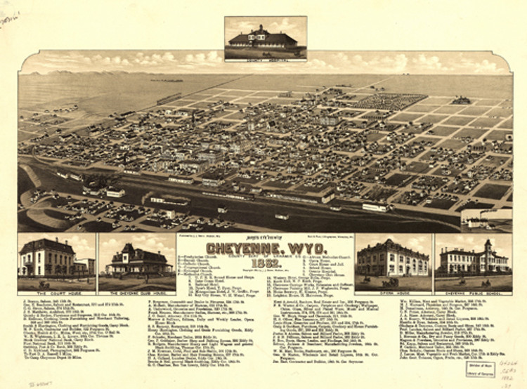 Historic Map - Cheyenne, WY - 1882