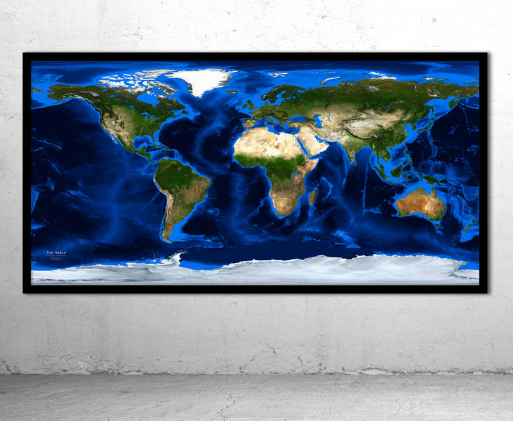 World Satellite Image Map - Topography & Bathymetry - No Labels