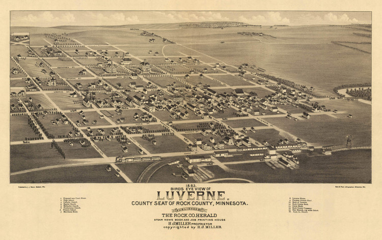 Historic Map - Luverne, MN - 1883