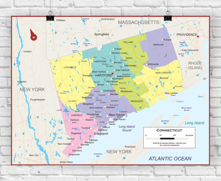 Connecticut State Political Wall Map