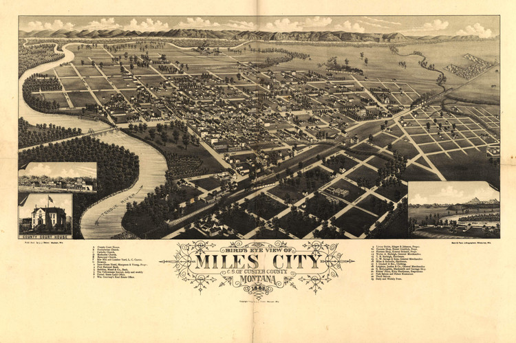 Historic Map - Miles City, MT - 1883