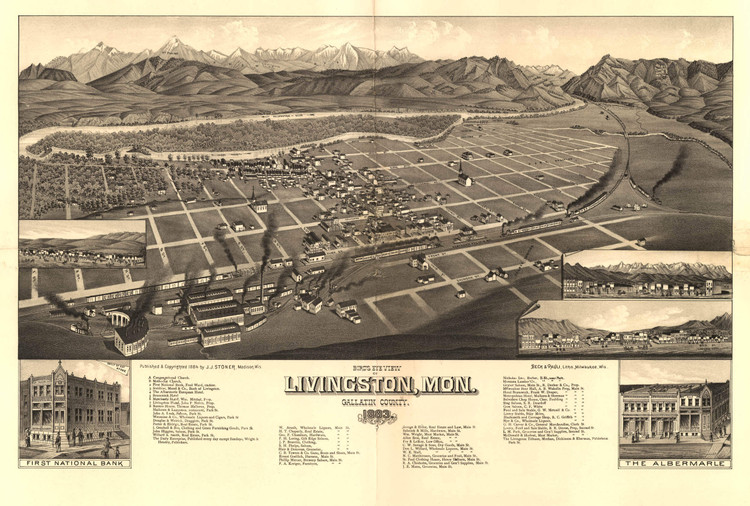 Historic Map - Livingston, MT - 1883
