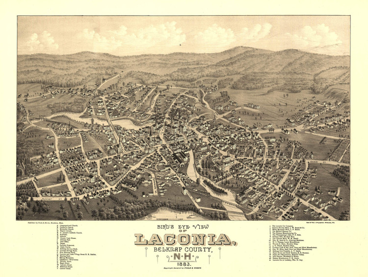 Historic Map - Laconia, NH - 1883