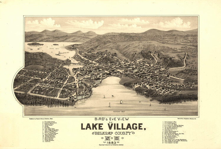 Historic Map - Lake Village (Lakeport), NH - 1883