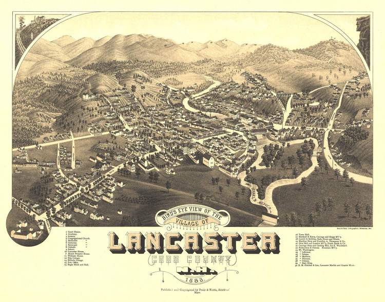 Historic Map - Lancaster, NH - 1883