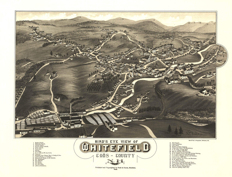 Historic Map - Whitefield, NH - 1883