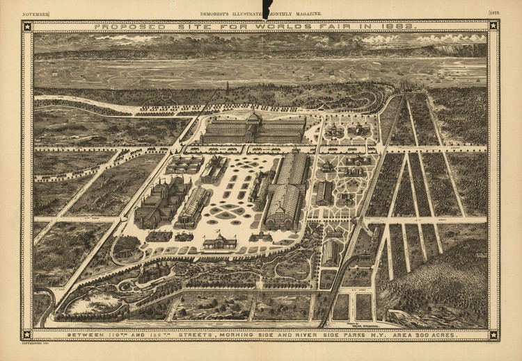 Historic Map - New York City, NY - Proposed site for the World's Fair - 1883