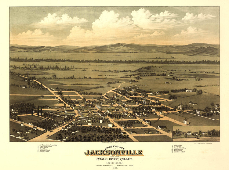 Historic Map - Jacksonville, OR - 1883