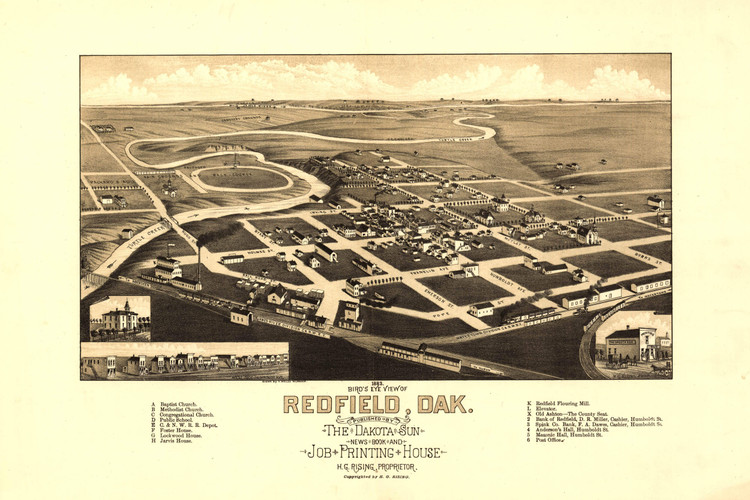 Historic Map - Redfield, SD - 1883