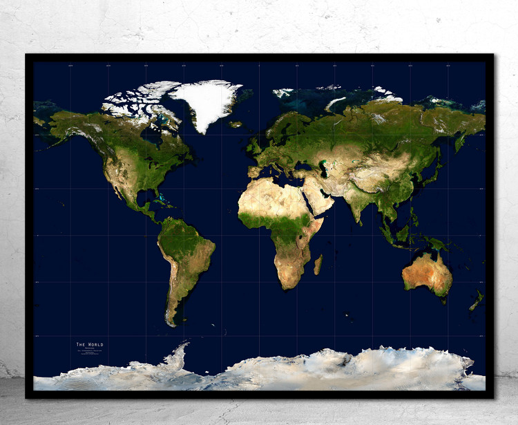 World Physical Satellite Image - Gall Stereographic Projection - No Labels