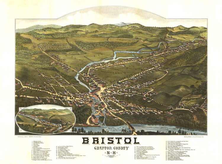 Historic Map - Bristol, NH - 1884