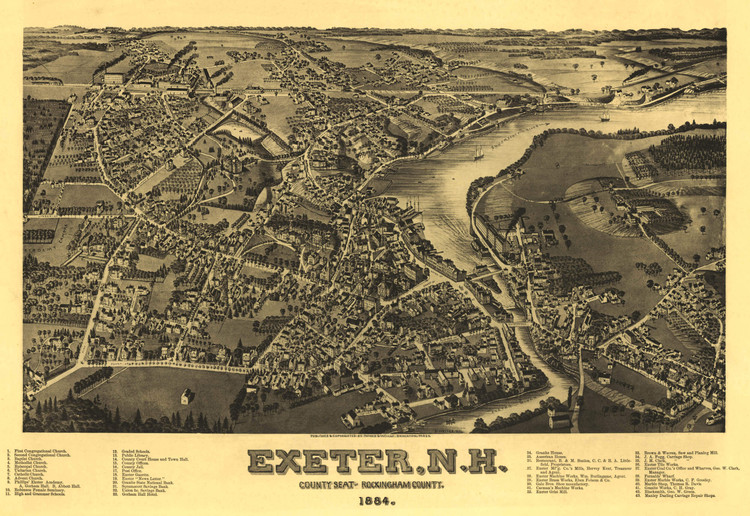 Historic Map - Exeter, NH - 1884