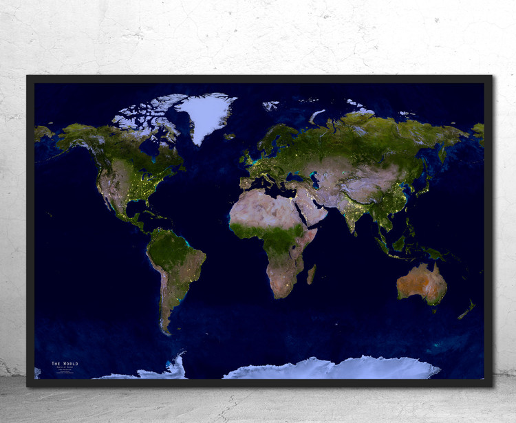 Earth at Night NASA City Lights World Wall Map - Times Projection