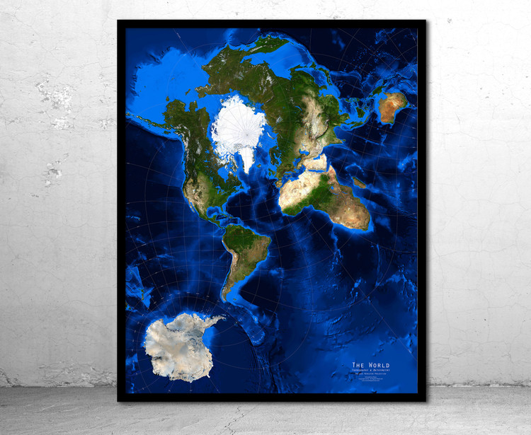 World Satellite Image Map - Topography & Bathymetry - Oblique Mercator - No Labels