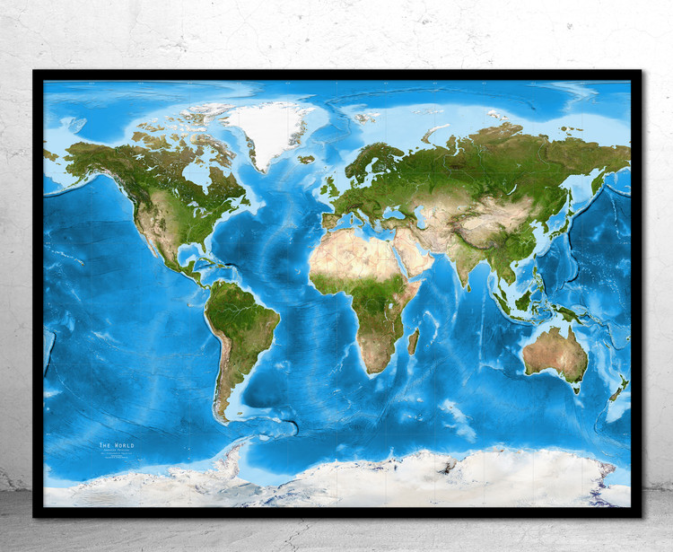 World Enhanced Physical Satellite Image Map - Gall Stereographic - No Labels