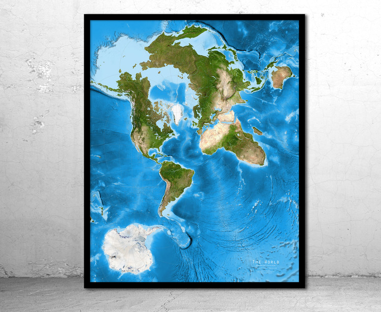 World Enhanced Satellite Image Map - Oblique Mercator - No Labels