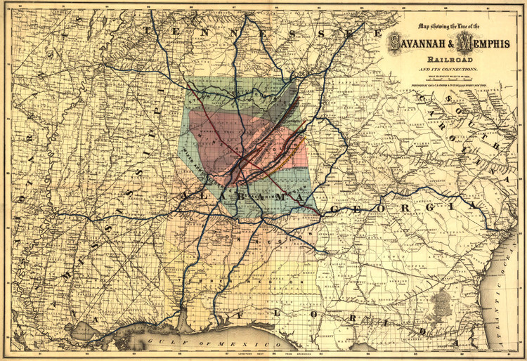 Historic Railroad Map of the Southern States - 1872 G.W. & C.B. Colton & Co