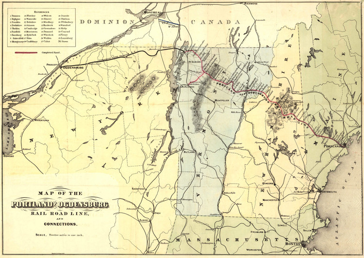 Historic Railroad Map of New England - 1850 - Hatch & Co