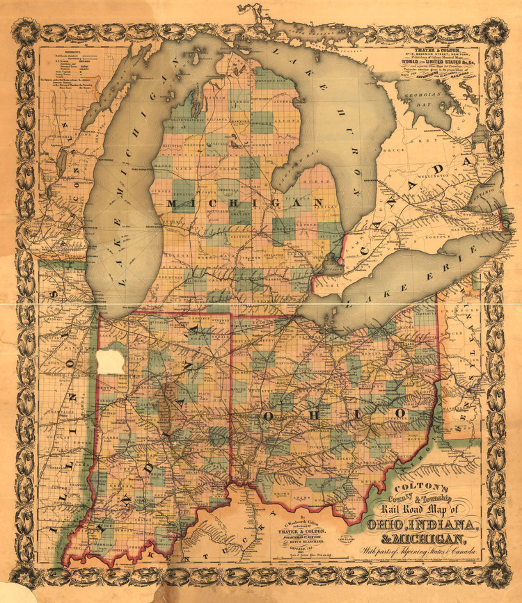 Historic Railroad Map of the Midwest - 1859 - G.W. Colton