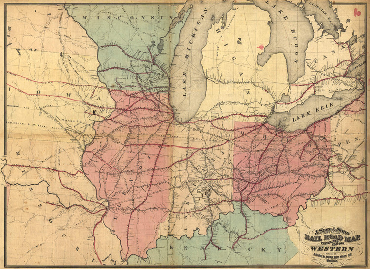 Historic Railroad Map of the Midwest - 1859 - Ensign, Bridgman & Fanning