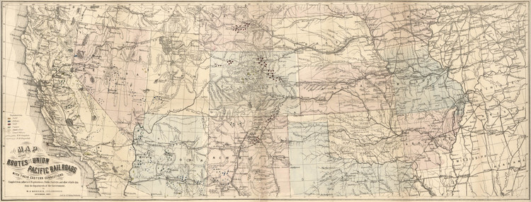 Historic Railroad Map of the Western United States - 1867 - Pike's Peak to California