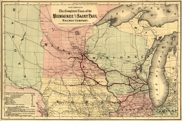 Historic Railroad Map of the Midwest - 1872 - G.W. & C.B. Colton & Co