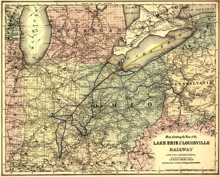 Historic Railroad Map of the Midwest - 1872 - GW & CB Colton & Co.