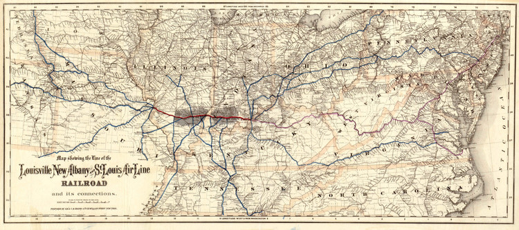 Historic Railroad Map of the Midwest - 1872 by G.W. & C.B. Colton & Co