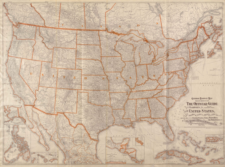 Historic Railroad Map of the United States - 1918 - National Railway Publication Company