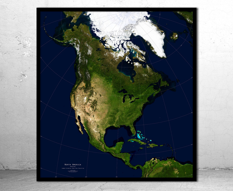 North America Physical Satellite Image Map - No Labels
