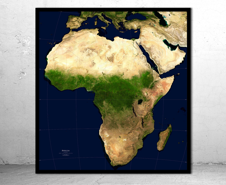 Africa Physical Satellite Image Map - No Labels
