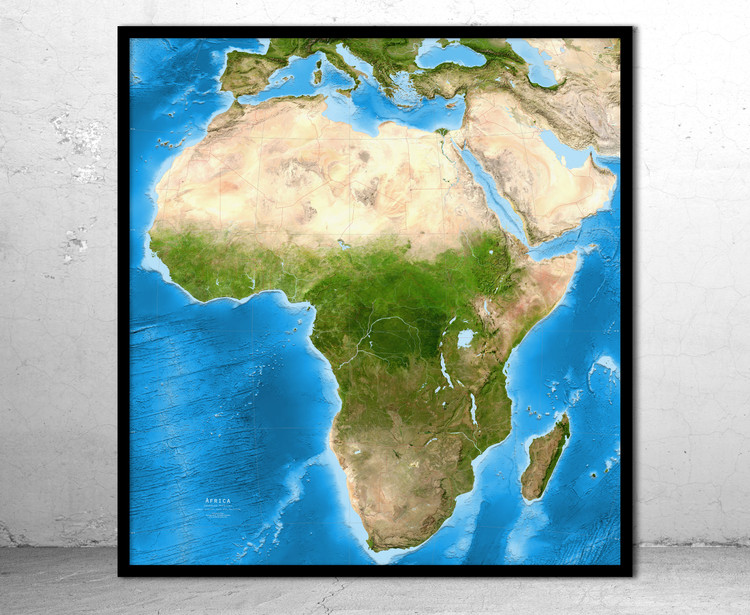 Africa Enhanced Physical Satellite Image Map - No Labels