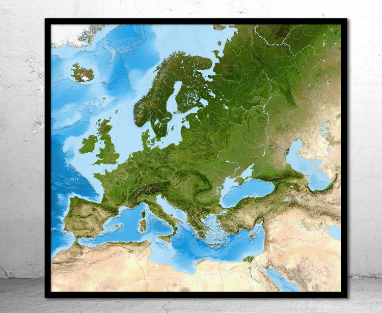 Europe Enhanced Satellite Image Map