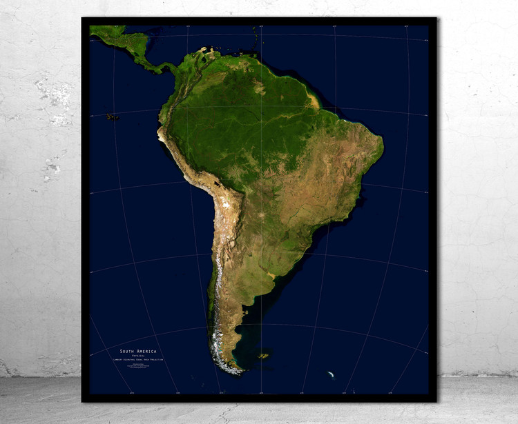 South America Physical Satellite Image Map - No Labels