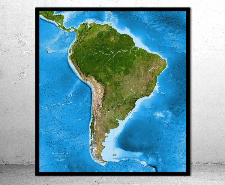 South America Enhanced Satellite Image Map - No Labels