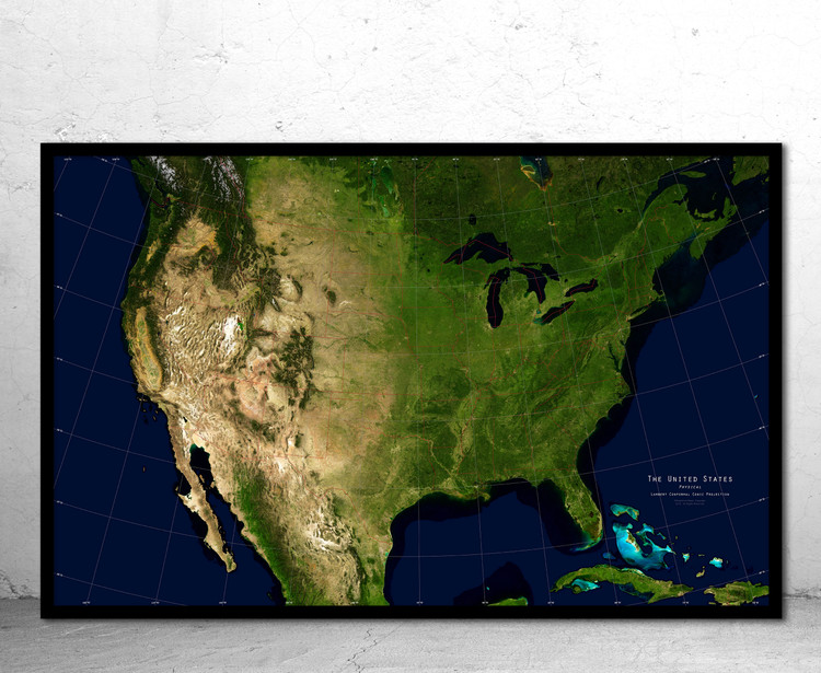 United States Physical Satellite Image Wall Map - No Labels