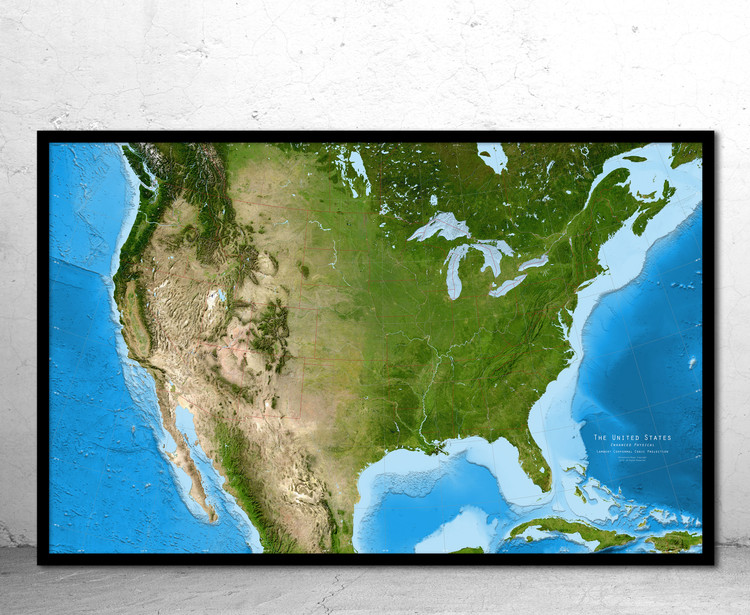 United States Enhanced Physical Satellite Image Map - No Labels