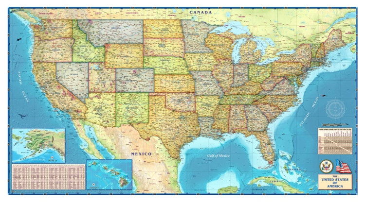 United States Political Wall Map from Compart Maps
