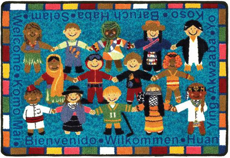 Welcome in Many Languages Educational Classroom Rug