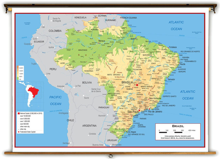 Brazil Physical Educational Wall Map from Academia Maps