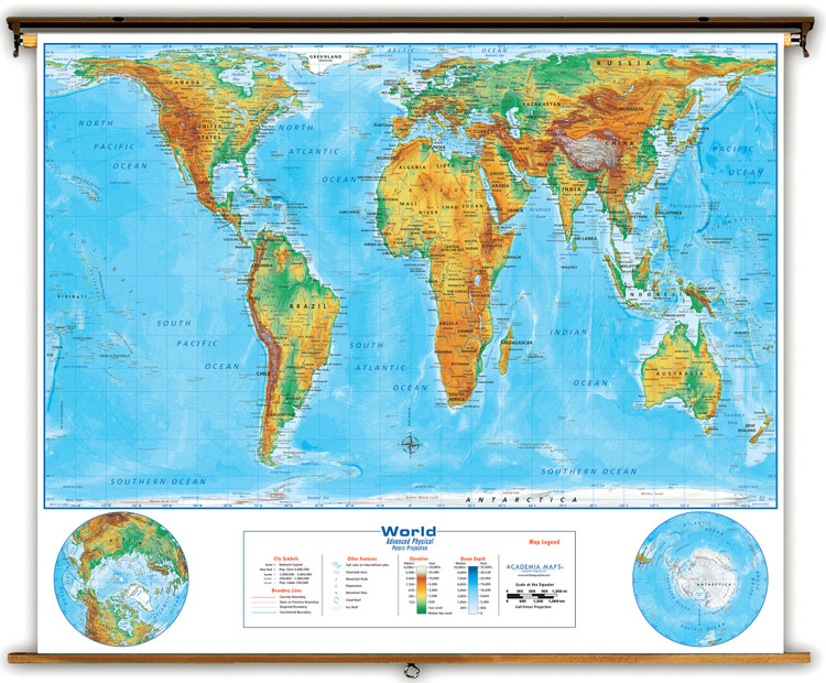 Peters Projection Physical World Spring Roller Map