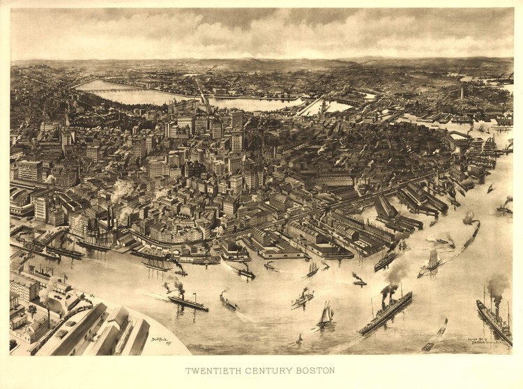 Historic Map - Boston, MA - 1905 - A.W. Elson & Co.