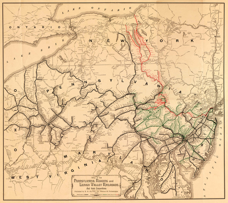 Historic Railroad Map of the Middle Atlantic States - 1884 - R.H. Alter