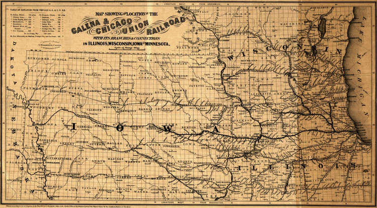 Historic Railroad Map of the Midwest - 1862 - G.W. & C.B. Colton & Co