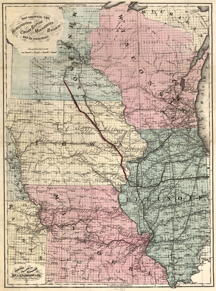 Historic Railroad Map of the Midwest - 1868 - G.W. & C.B. Colton & Co