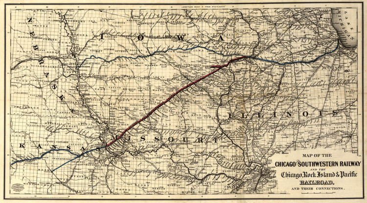 Historic Railroad Map of the Midwest - 1869 - Southwestern Railway