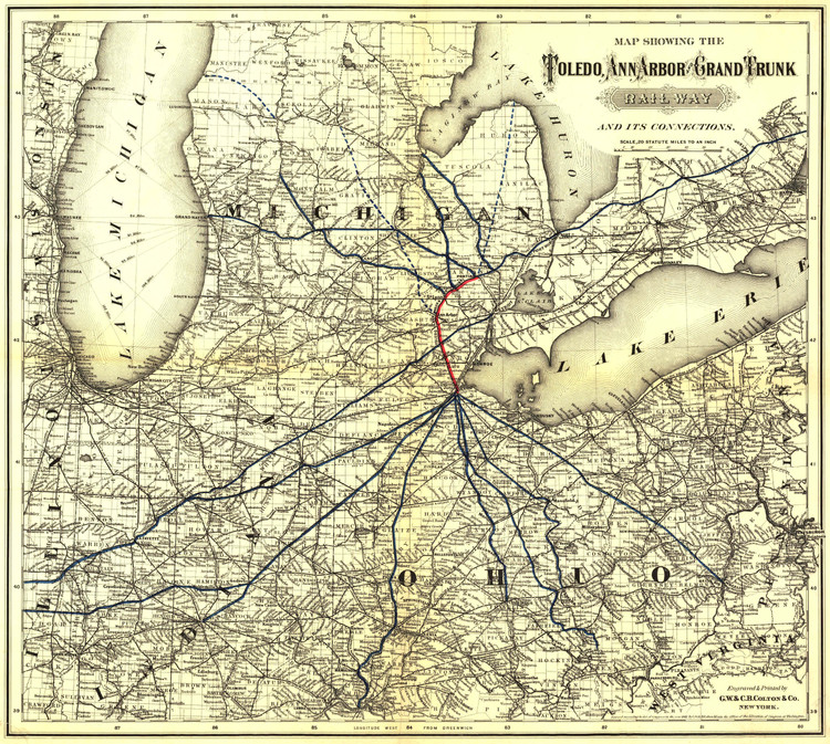 Historic Railroad Map of the Midwest - 1881 - G.W. & C.B. Colton & Co.
